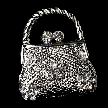 * Brooch 77 Antique Silver Clear Rhinestone Purse Pin