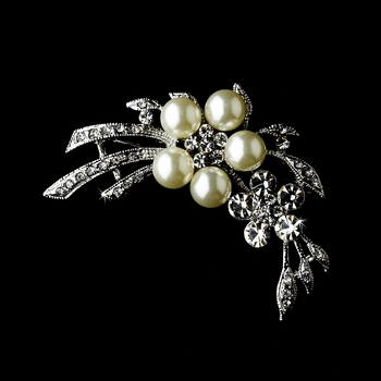 * Antique Silver Pearl & Crystal Brooch 119