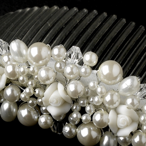 Porcelain Flower and White Faux Pearl Bridal Comb 176