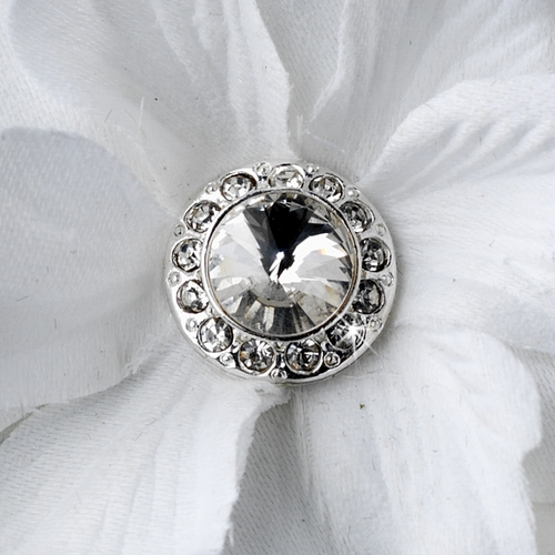 Glamorous White Delphinium Flower Hair Clip w/ Silver Clear Jewel Center 443 with Brooch Pin