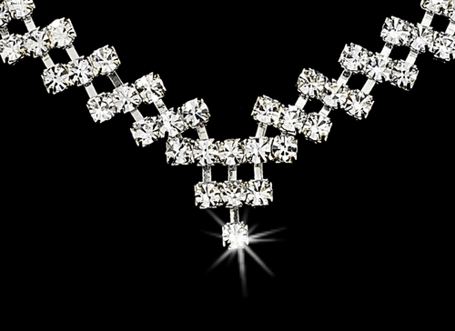 Necklace Earring Set 339 Silver Clear