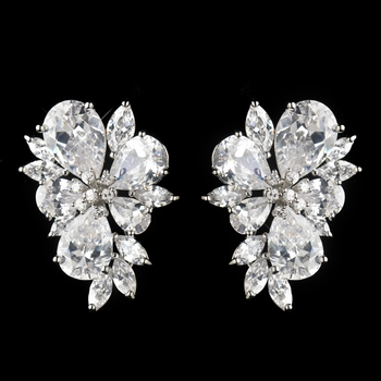 Antique Silver Rhodium Clear CZ Crystal Flower Cluster Earrings 1416