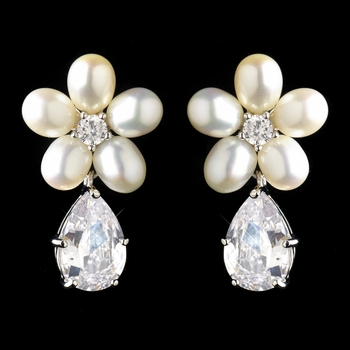 Antique Silver Rhodium Freshwater Pearl & CZ Crystal Drop Earrings 1418