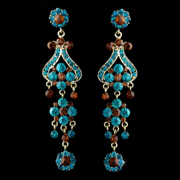 Gold Blue Brown Earring Set 1033