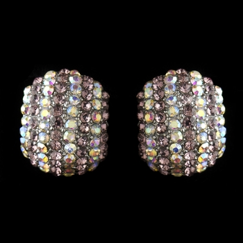 Antique Silver Lt Amethyst & AB Rhinestone Encrusted Stud Earrings 40693