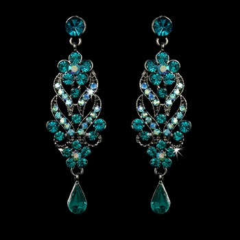 Antique Silver Turquoise Dangle Earrings E 1027