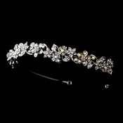 * Charming Antique Silver Flower Headpiece w/ Clear & AB Crystals 8233