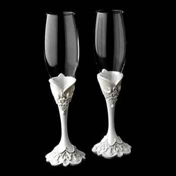Lovely Victorian Lace Wedding Toasting Champagne Flutes 451
