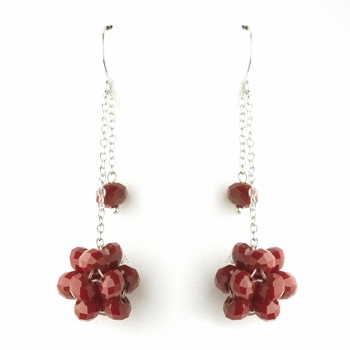 * Ruby Cluster Dangle Earring Set 7620