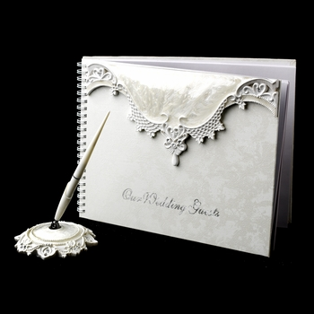 Lovely Victorian Lace Guest Book & Pen Set