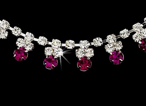 * Fuchsia Accented Necklace & Earring Jewelry Set NE 358