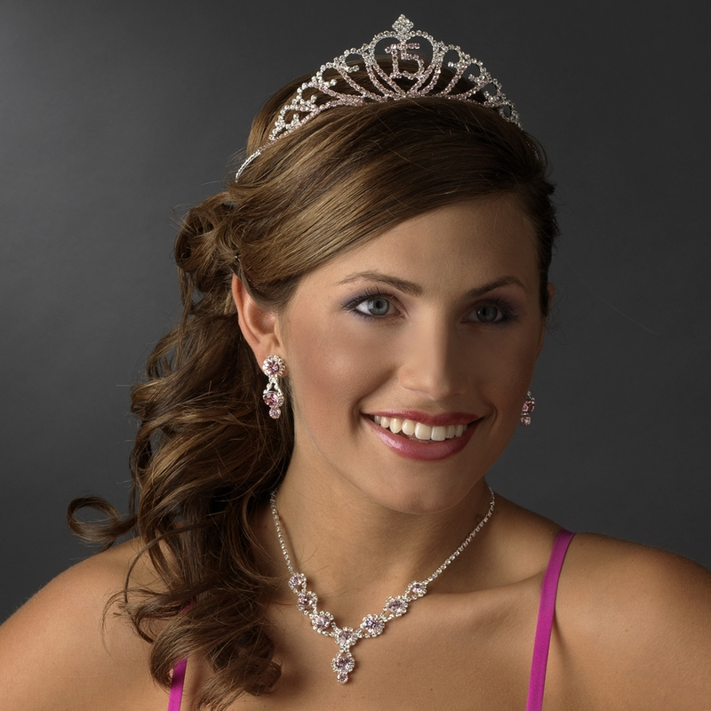 hair style for sparkling sweet 15 quincea 241 era tiara covered in pink 1533