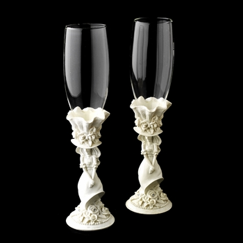 White 'Sweet 15' Girl Wedding Toasting Champagne Flutes