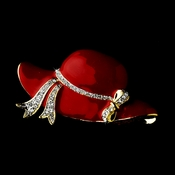 * Red Hat Society Gold with Rhiestones Brooch 123 ***3 Left***