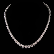 Gorgeous Cubic Zirconia Necklace N 3634 (Silver or Gold)