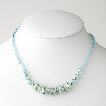 * Aqua Silver Clear Necklace 7618
