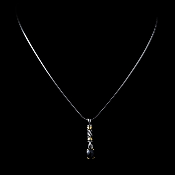 Stunning Silver Designer Inspired Black Crystal Pendant Necklace 4082