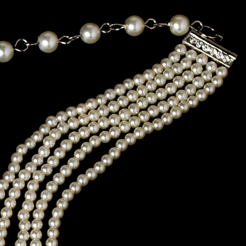 5 Row Choker Pearl Necklace N 602 Siver Ivory
