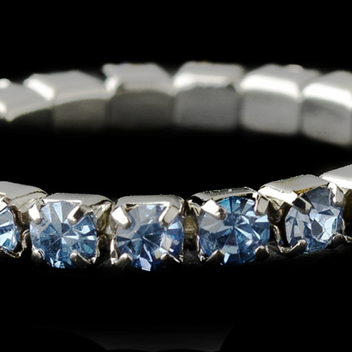 Silver-Light Blue Rhinestone Toe Ring Stretchy 1