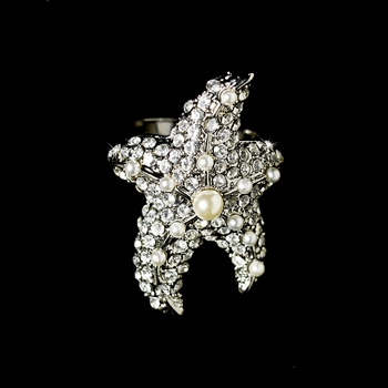 Exquisite Silver Clear Rhinestone & White Pearl Starfish Ring 3032 * Discontinued *