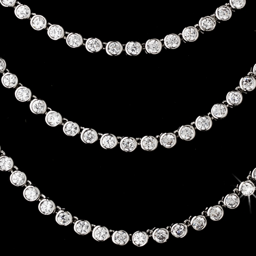 Stunning Antique Silver Clear CZ Three Strands Necklace N 5066