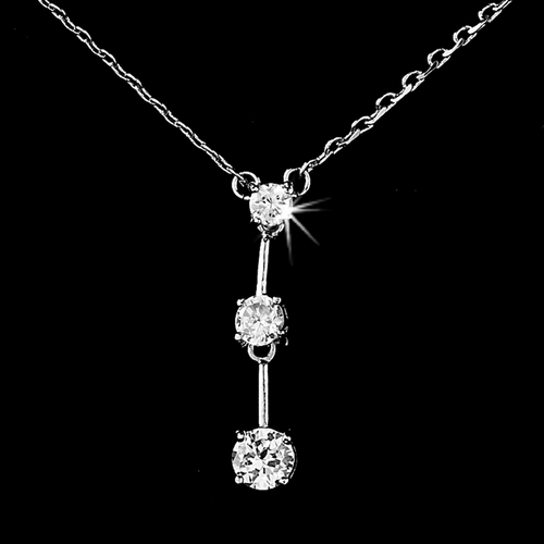 * Captivating Antique Silver Clear CZ Drop Necklace N 3516