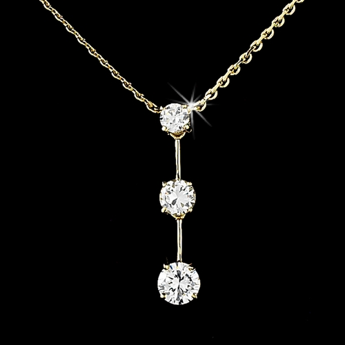 * Captivating Gold Clear CZ Drop Necklace N 3516