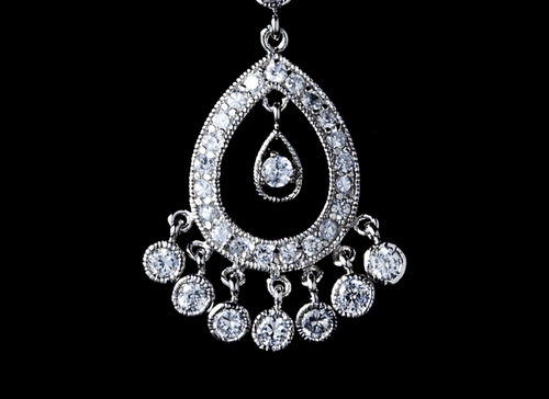 * Extraordinary CZ Chandelier Pendant Necklace N 3818 (Silver or Gold)