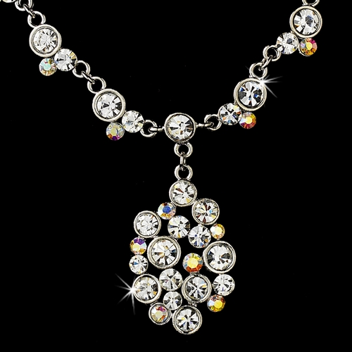 * Modern Silver Clear & AB Austrian Crystal Necklace & Earring Set 996