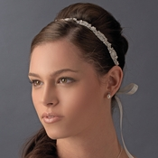 * Silver Clear Ivory Ribbon Headband 8209