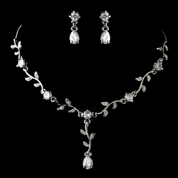 Lovely Silver Clear CZ Crystal Flower Necklace & Earrings Jewelry Set 51021***Discontinued****