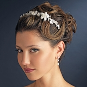 Silver Ivory Pearl & Clear Rhinestone Floral Side Accented Bridal Headband Headpiece 8279