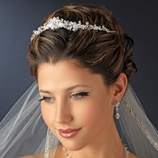 * Silver Clear Rhinestone Floral Tiara Headpiece 8434***Discontinued***