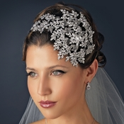 Vintage Couture Leaves Side Accented Crystal Bridal Faceframer Headband 19255