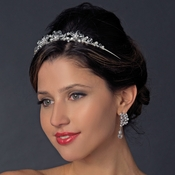 * Silver Clear Crystal Bead & White Pearl Bridal Headband 9957