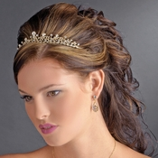 Charming Gold Clear Crystal Tiara Headpiece 9836