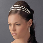* Charming 3 Row White Flower Headband w/ Clear Crystals 8290