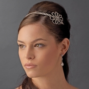 Antique Silver Crystal Flower Headpiece HP 8291