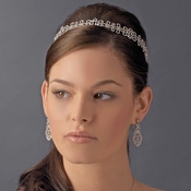 * Gorgeous Rhinestone Encrusted Floral Bridal Resemblance Headband - HP 8334