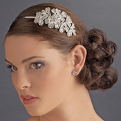 * Silver Side Accenting Rhinestone Flower Cluster Bridal Headband - HP 8349 (Defective)