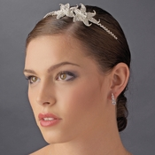Elegant Silver Rhinestone Encrusted Flower Headpiece HP 8408
