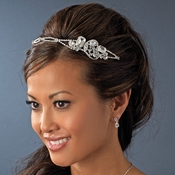 * Beautiful Silver & Crystal Bridal Headband HP 8264