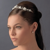Silver White Bridal Headband HP 2322