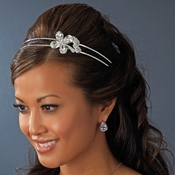 * Silver Floral Bridal Headband HP 8260