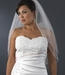 Double Layer Elbow Length Veil in White with Scattered Rhinestone & Pearl Accents 002