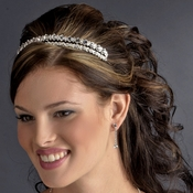* Elegant Silver Clear Crystal Tiara Headpiece 9832