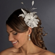 * Immaculate Diamond White Feather Bridal Comb 8987