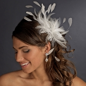 * Extravagant Ivory Feather Fascinator Bridal Clip 8986