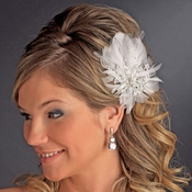 Feather Silver Crystal Bridal Hair Clip 456 with Brooch Pin