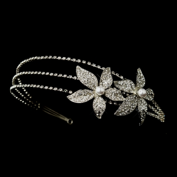 Antique Silver White Pearl & Rhinestone Floral Side Accented Bridal Headband 668